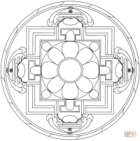 Yantra Mandala with Flower coloring page | Free Printable ...