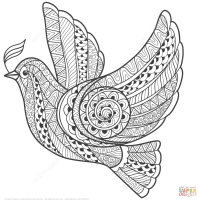 Zentangle Dove Of Peace Coloring Page Widescreen Animals Smartphone Hd Pics
