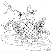 Coloriage Prince Grenouille Zentangle Coloriages 224