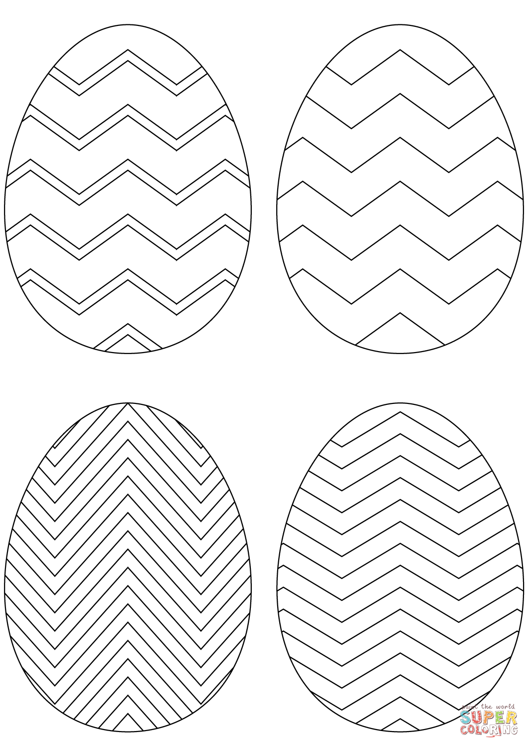 Chevron Easter Eggs Coloring Page Free Printable Coloring Pages