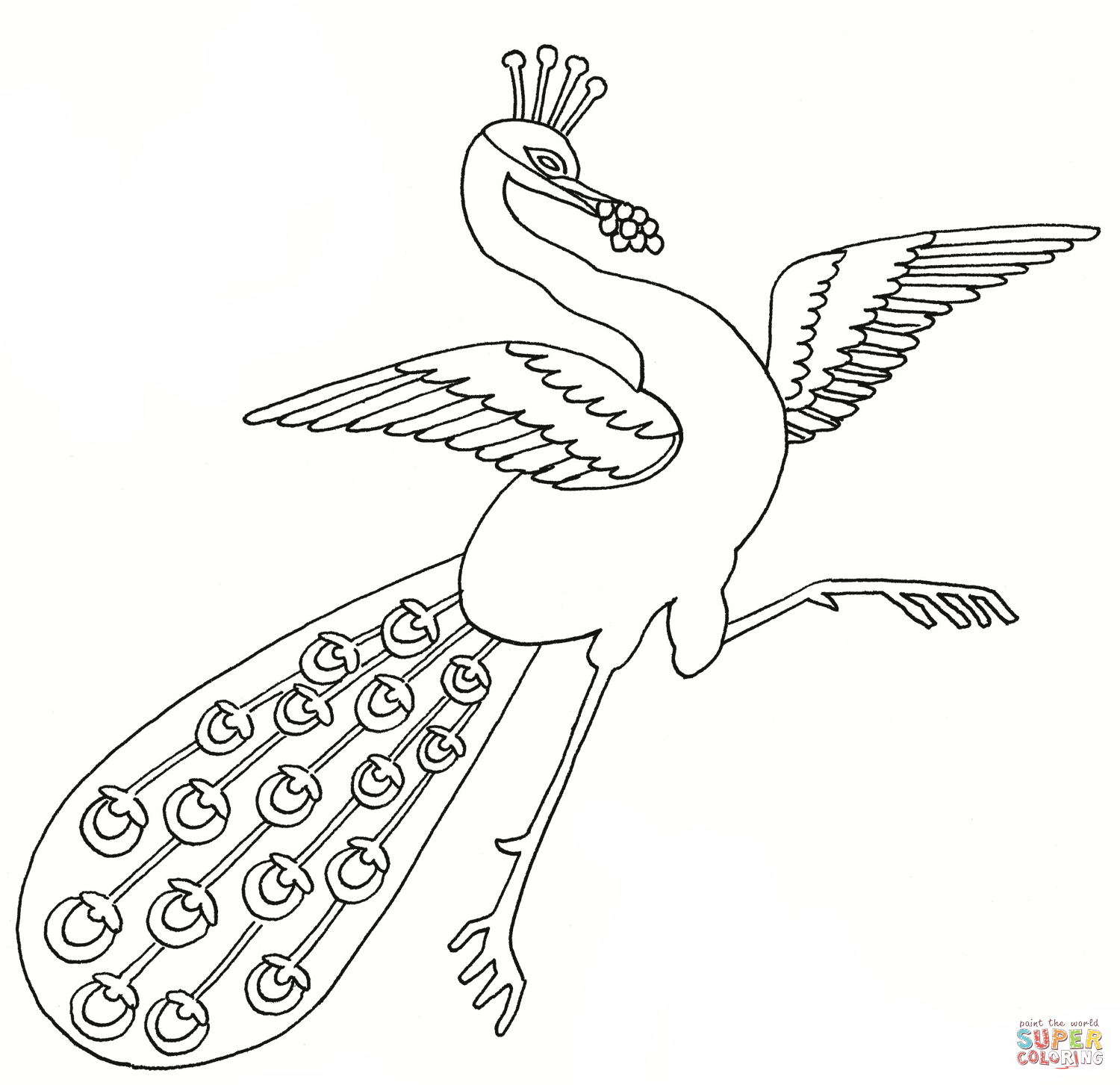 Dancing Peacock Coloring Page