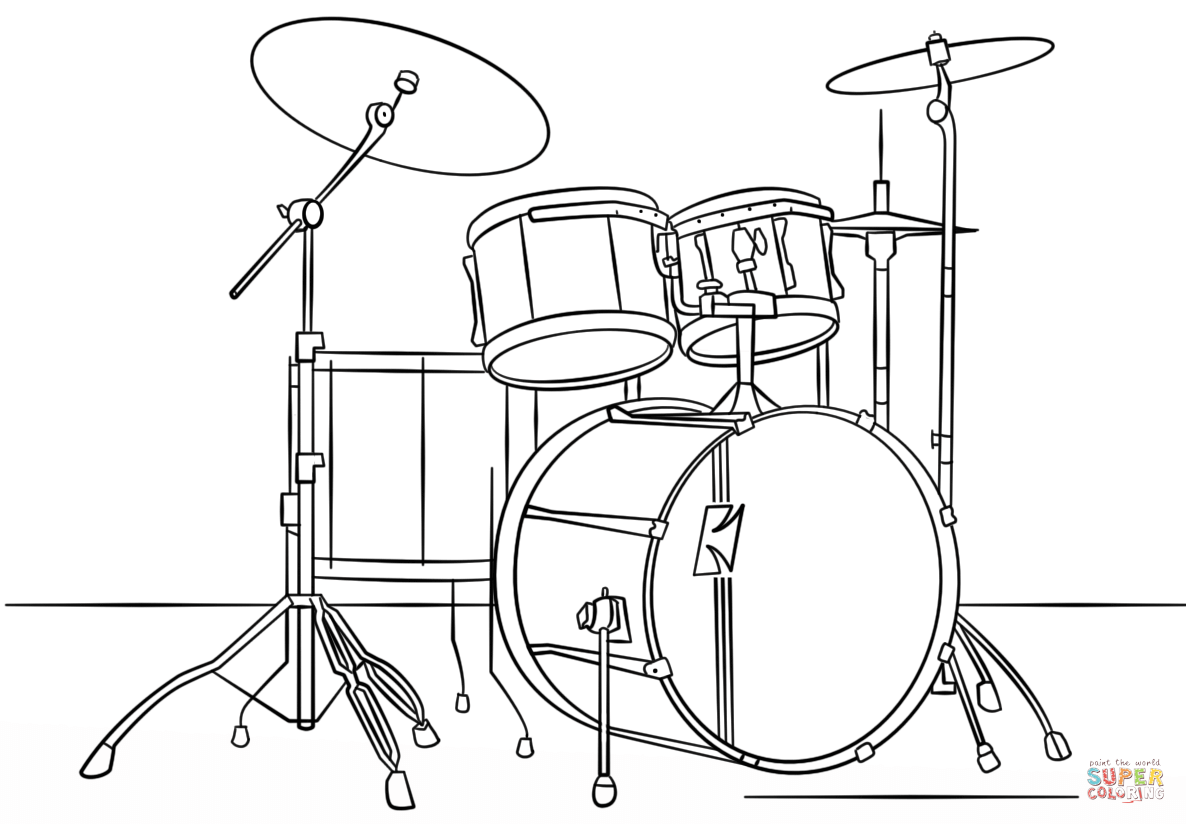 hight resolution of drum kit coloring page