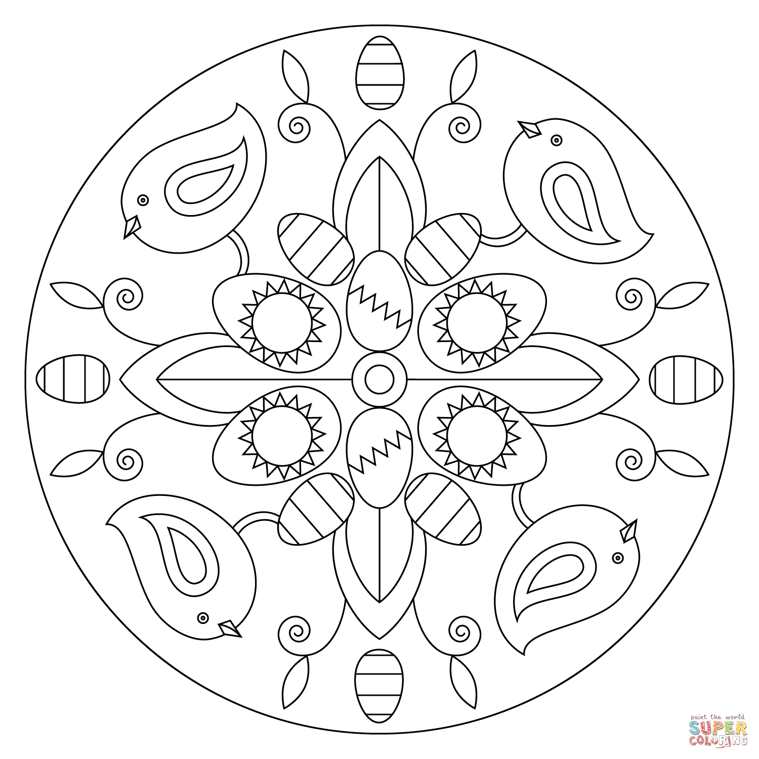 Easter Mandala With Birds And Eggs Coloring Page