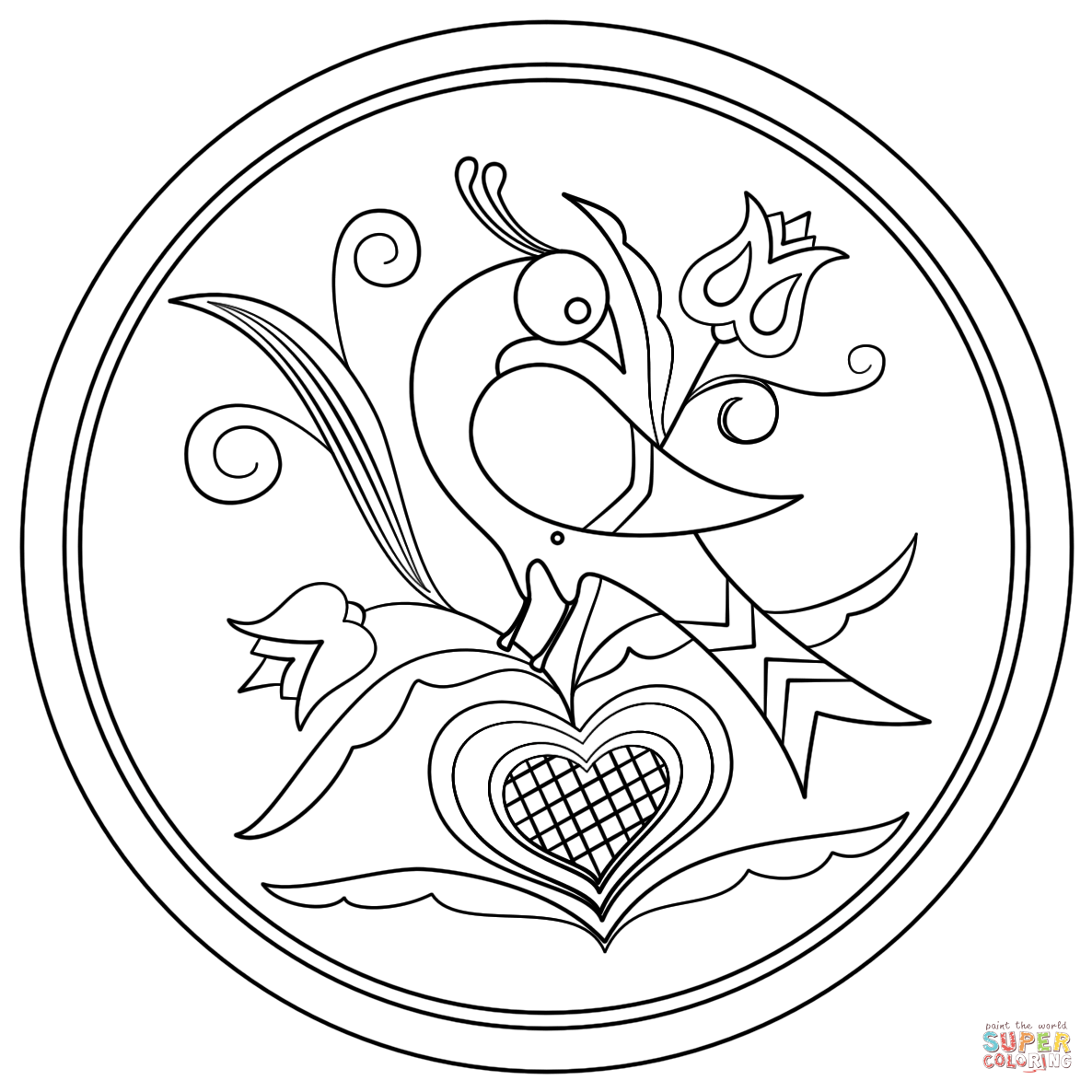 Hex Sign With Decorative Bird Coloring Page