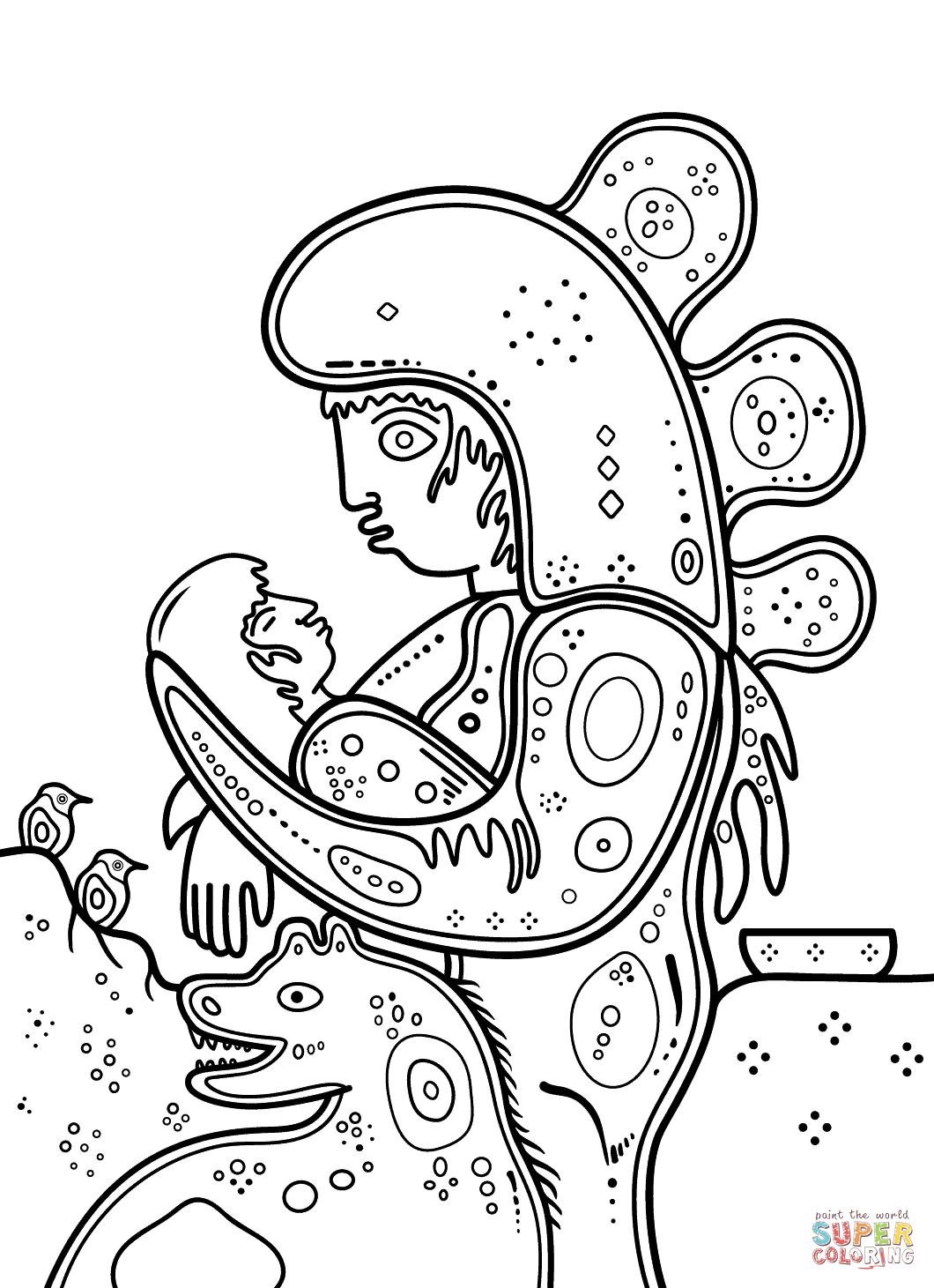 Mother And Child By David Morrisseau Coloring Page