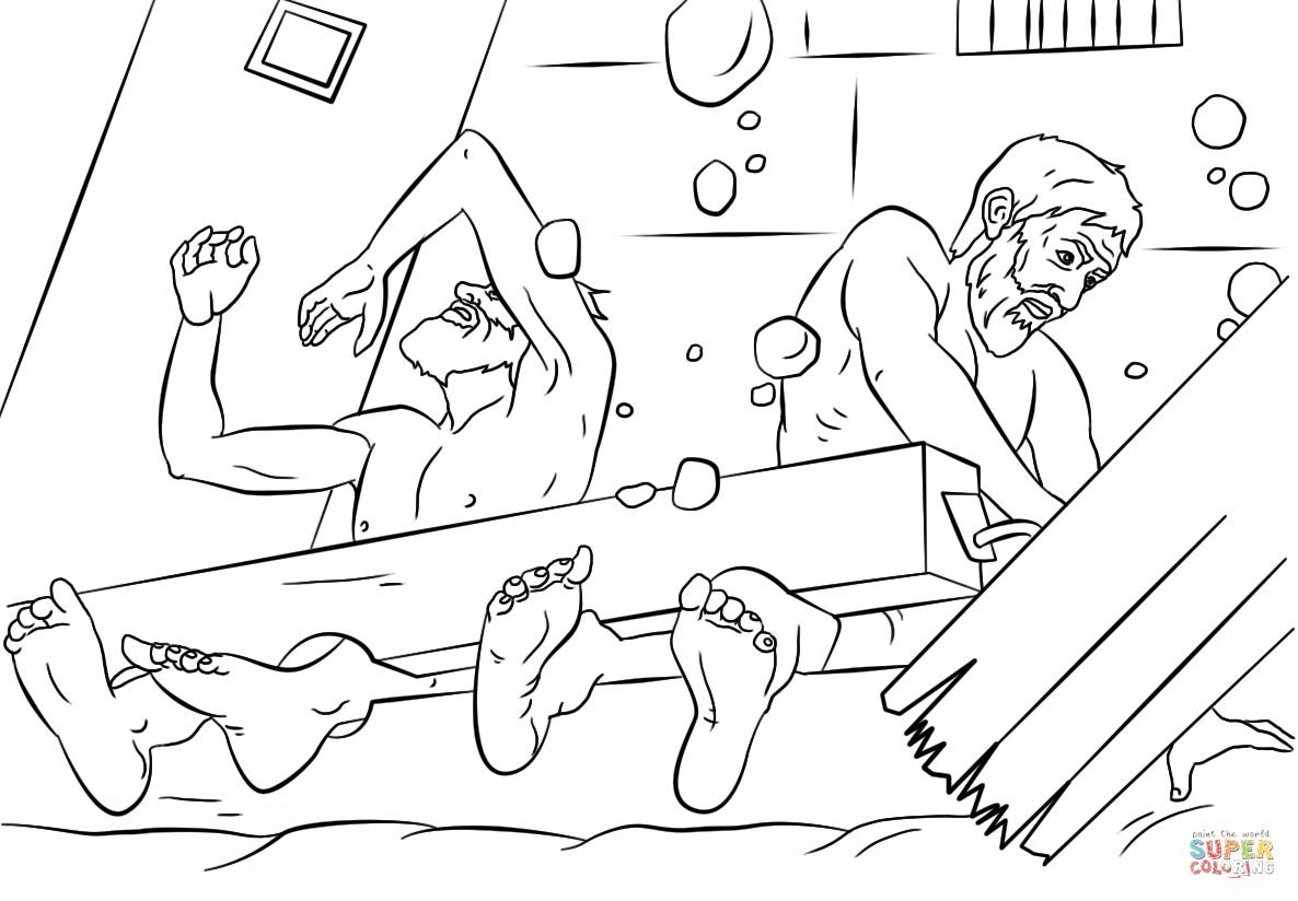 Paul And Silas Survives Earthquake Coloring Page