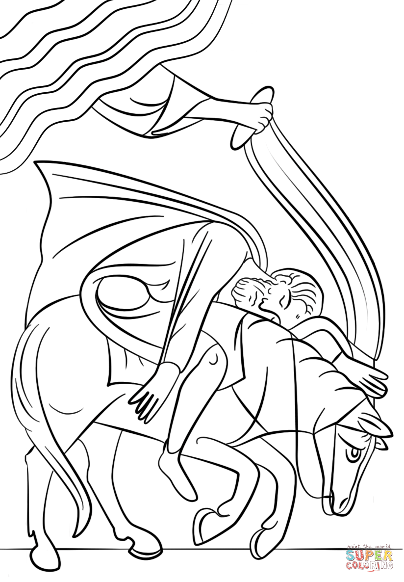 Paul's Conversion on the Road to Damascus coloring page