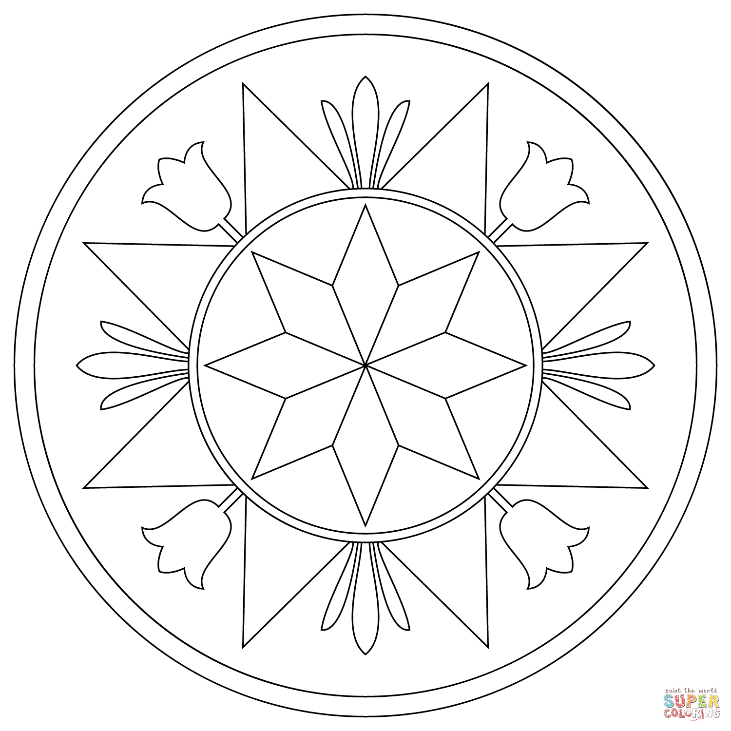 Blank Compass Rose Page Coloring Pages