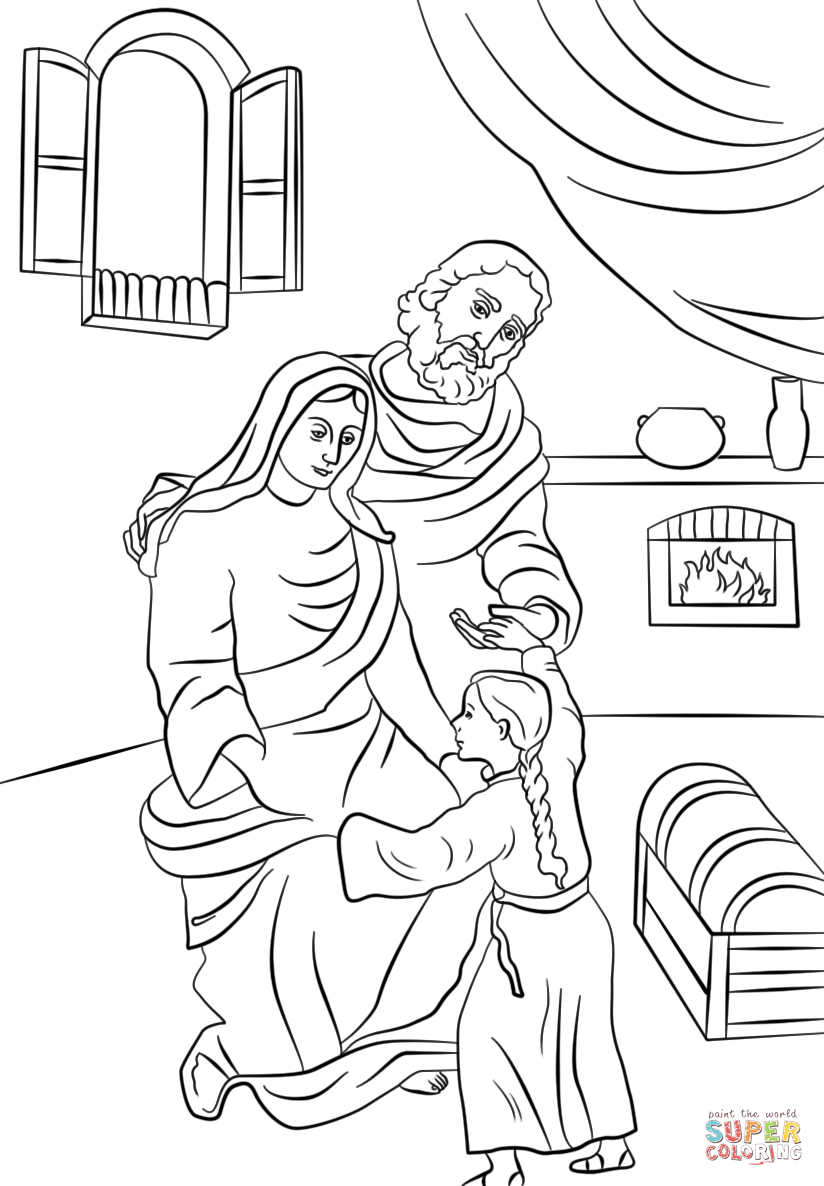 Saints Anna and Joachim with Little Mary coloring page