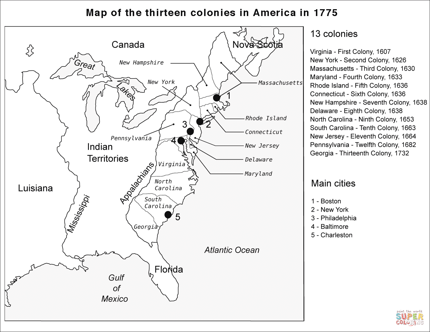13 Colonies Map Coloring Page
