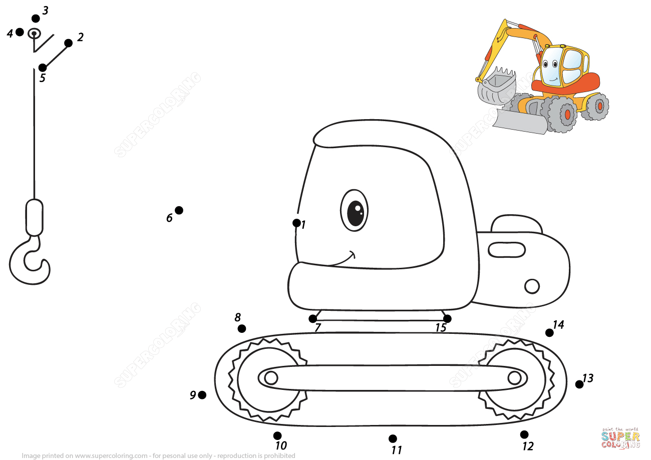 Cartoon Excavator 1 15 Dot To Dot