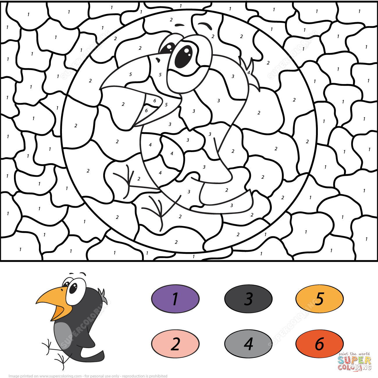 Color By Number Parrot Worksheet