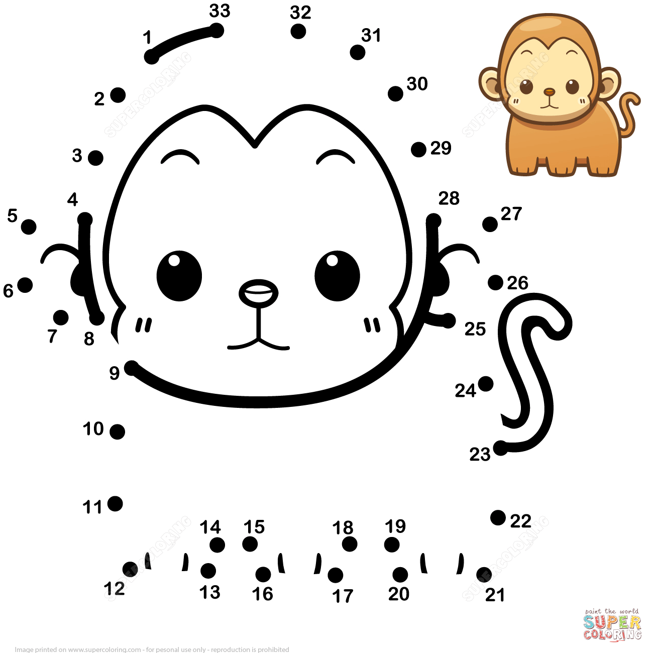 Cute Baby Monkey Dot To Dot