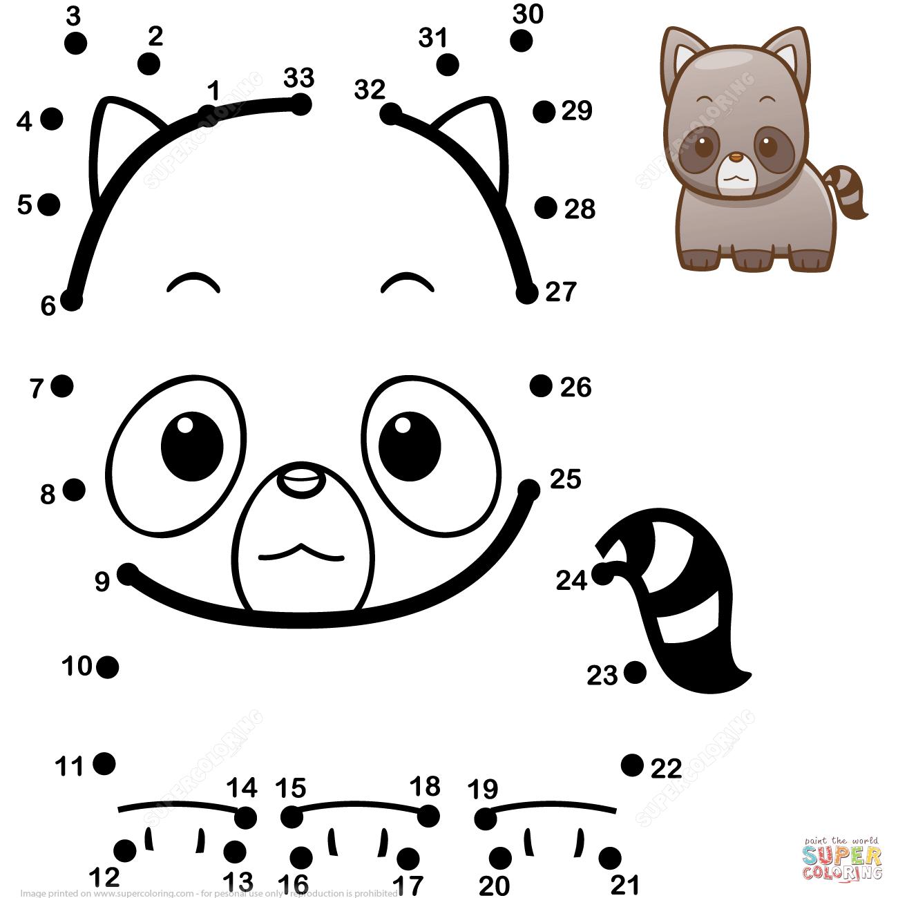Cute Baby Raccoon Dot To Dot