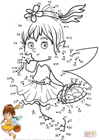 Little Fairy dot to dot | Free Printable Coloring Pages