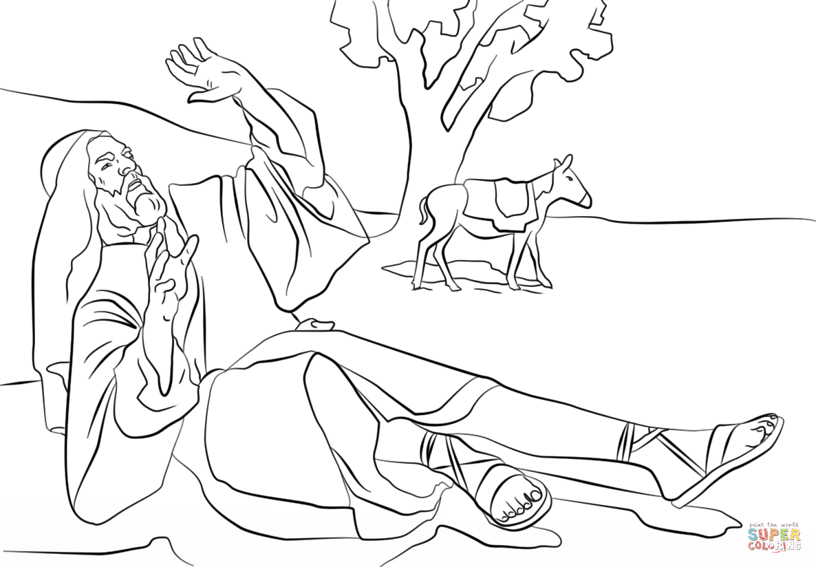 Saul On The Road To Damascus Coloring Page Coloring Pages