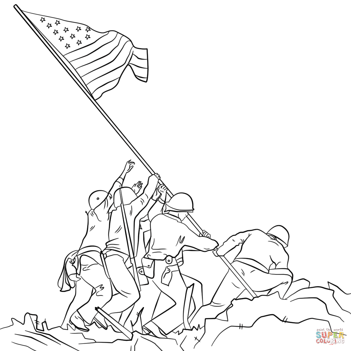 Raising The Flag On Iwo Jima Coloring Page