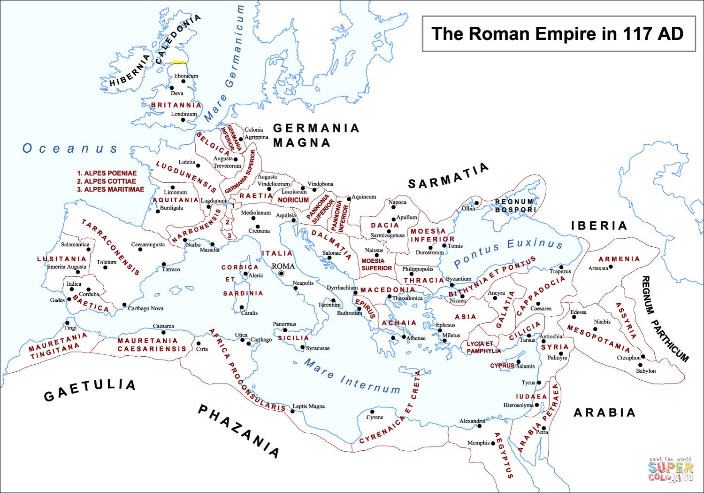 Disegno Di Mappa Di Impero Romano Da Colorare