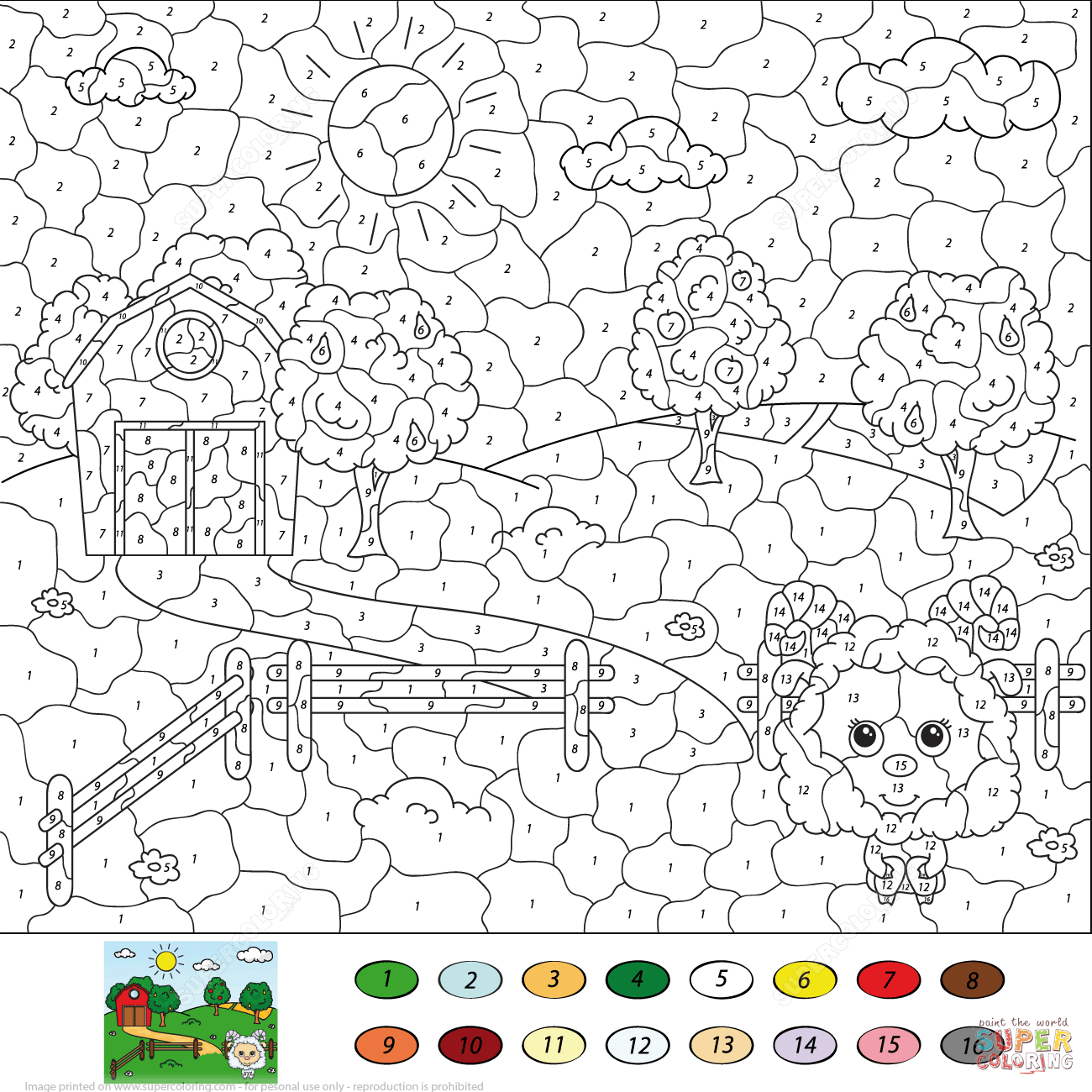 Winter Color By Number Worksheet Hard