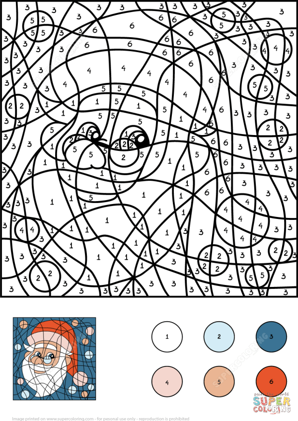 Santa Claus Color by Number Free Printable Coloring Pages