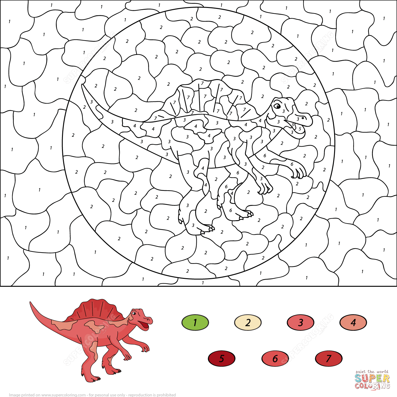 Spinosaurus Color By Number