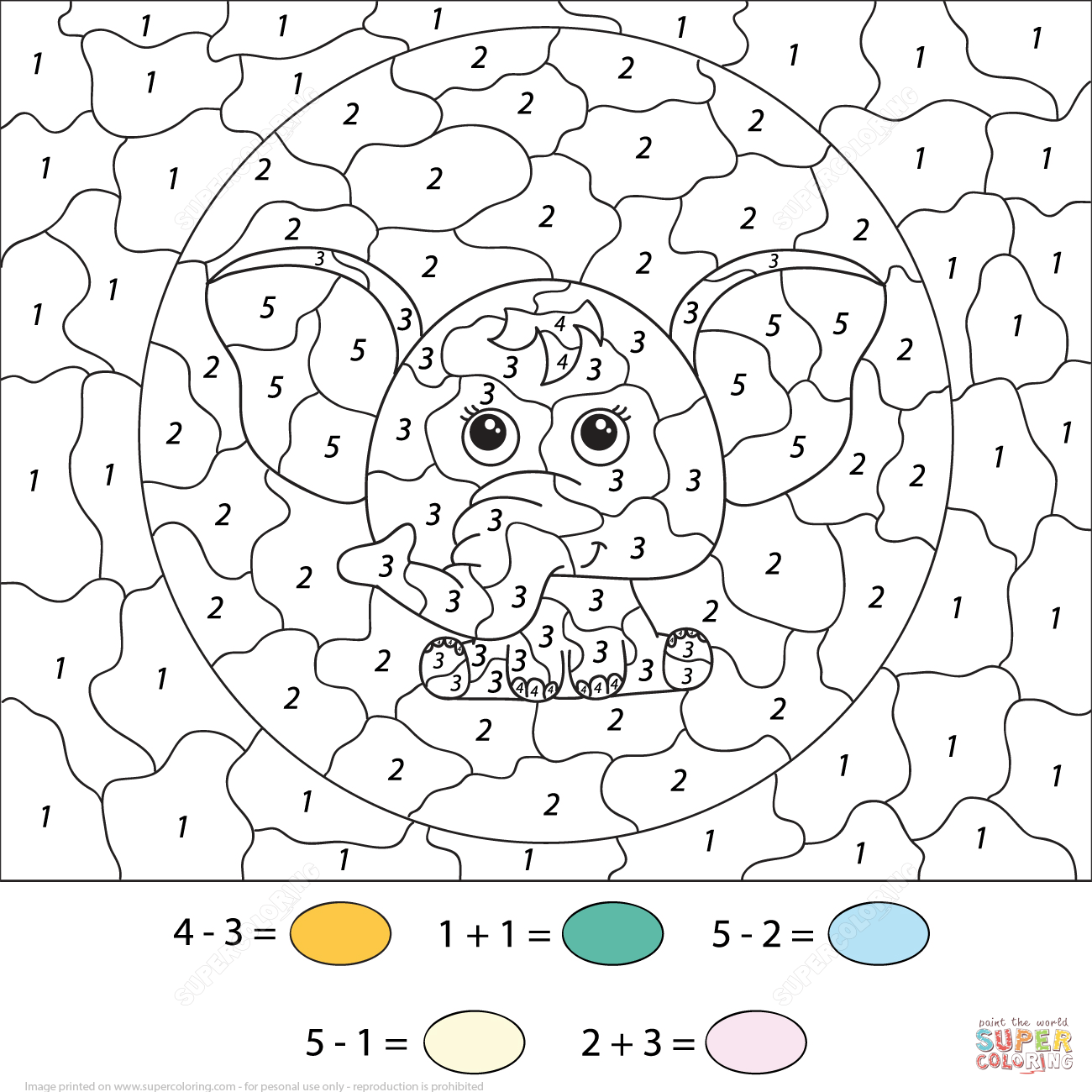 Subtration And Addition A Cute Cartoon Elephant Color By