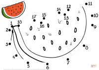 Watermelon dot to dot | Free Printable Coloring Pages