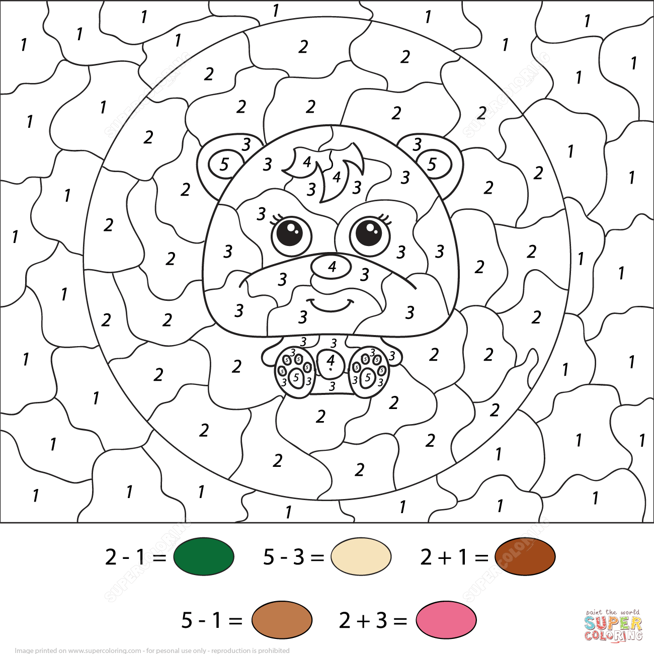 Little Cartoon Bear Color By Number