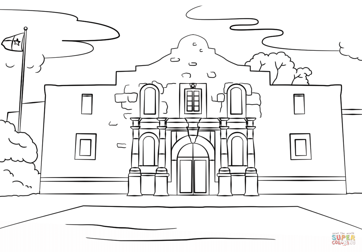 The Alamo Coloring Page