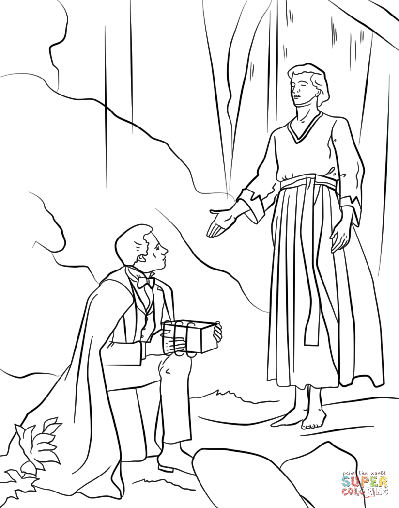 Angel Moroni Gives Plates To Joseph Smith Coloring Page Free