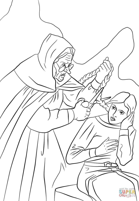 Dame Gothel Cutting Rapunzel