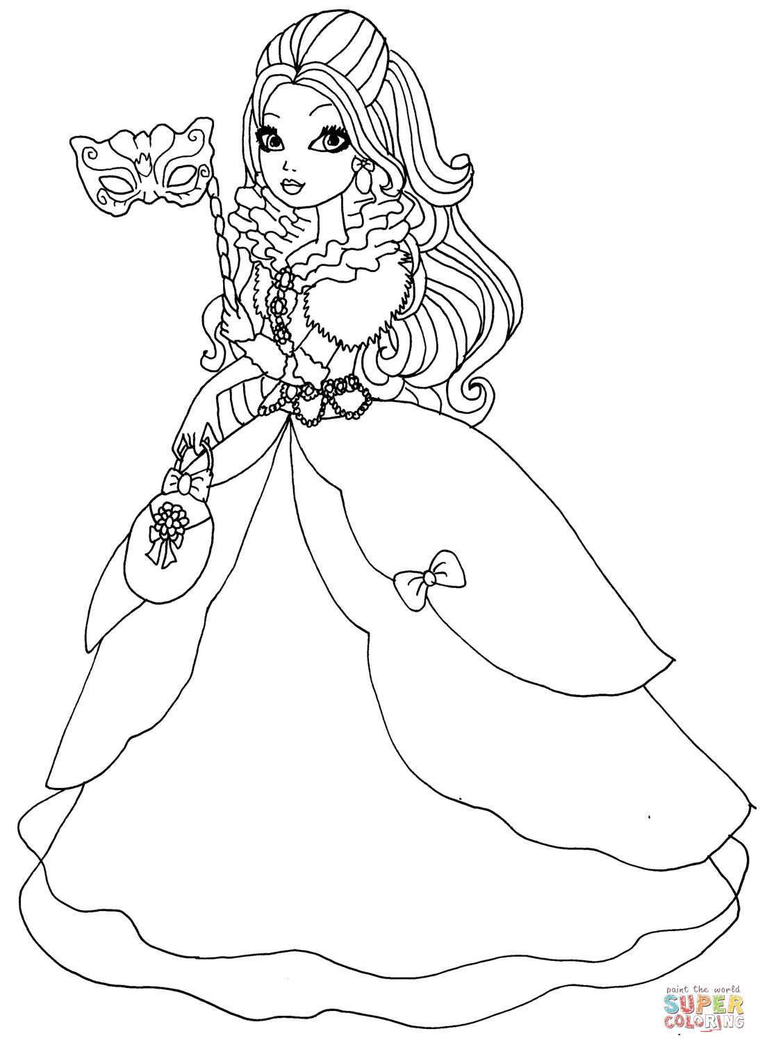 Ever After High Apple White Thronecoming Coloring Page