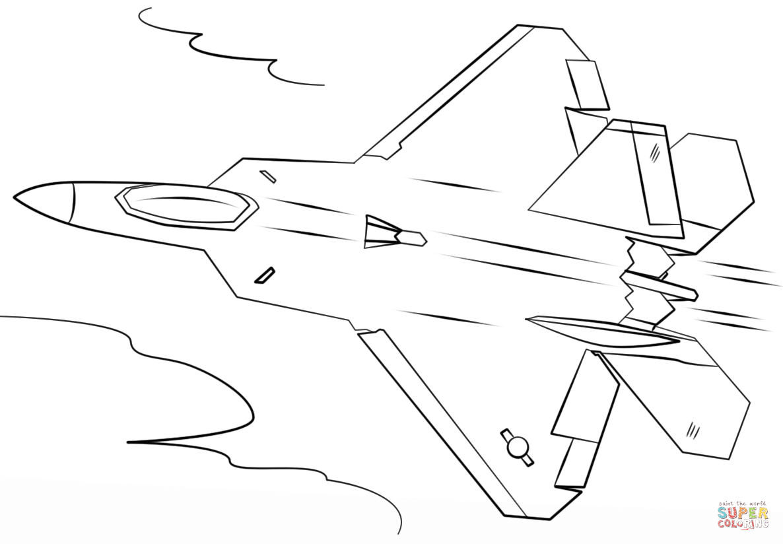 Ausmalbild F 22 Raptor