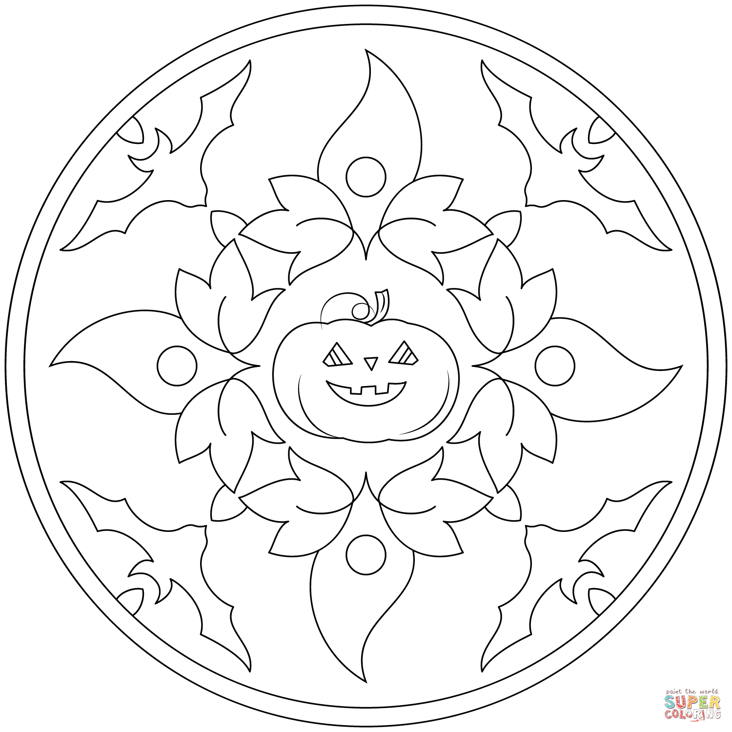 Halloween Mandala With Bats And Pumpkin Coloring Page