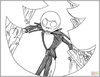 Jack Skellington Coloring Pictures Nightmare Before Christmas