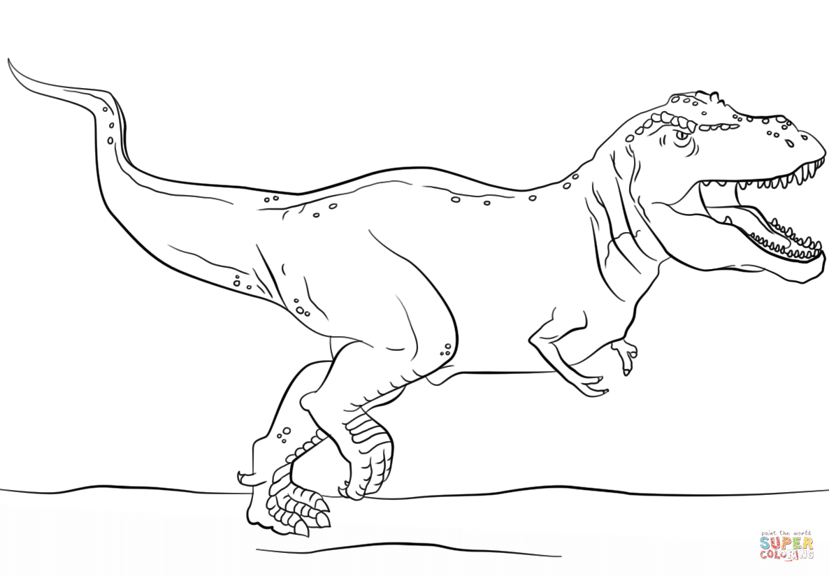 Jurassic Park T Rex Coloring Page Free Printable Pages