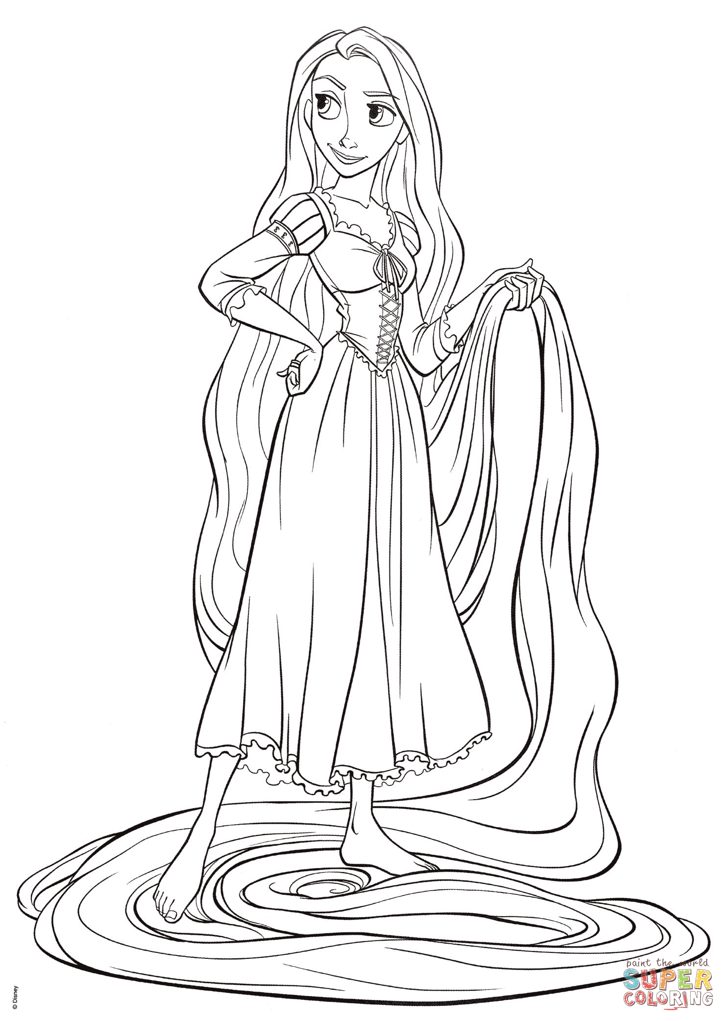 Rapunzel From Tangled Coloring Page Free Printable Coloring Pages