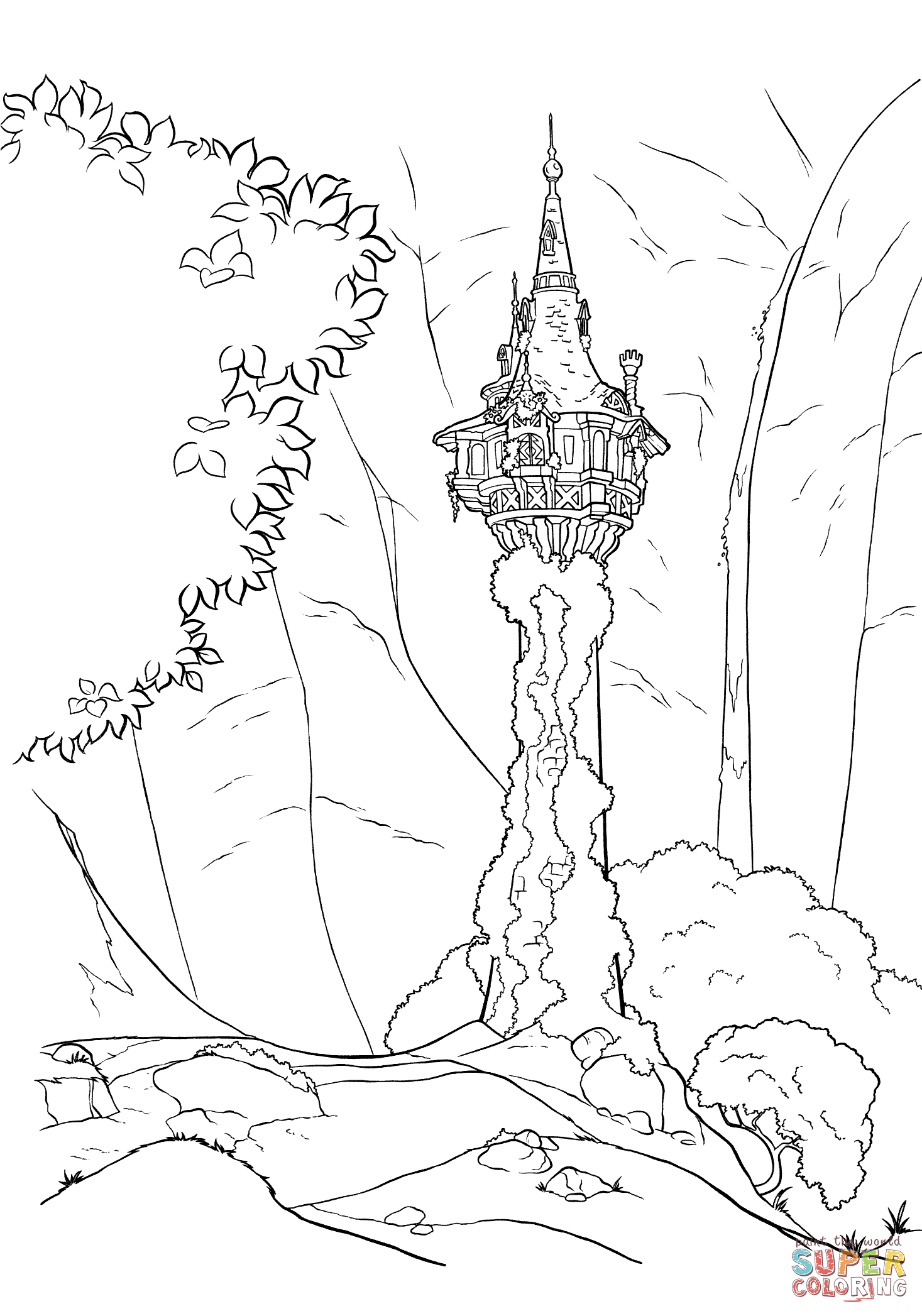 Rapunzel S Tower Coloring Page