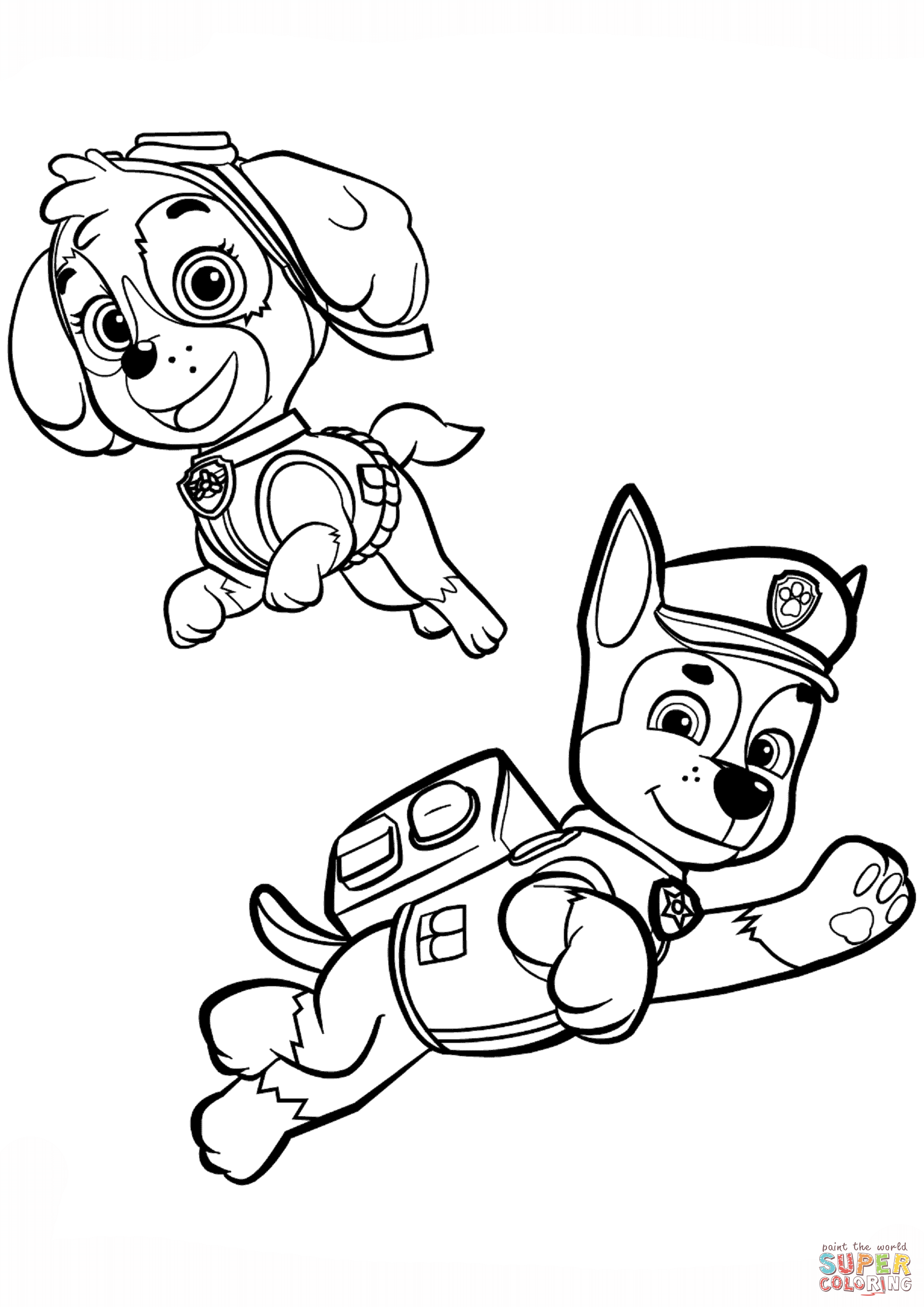 Chase And Skye Coloring Page