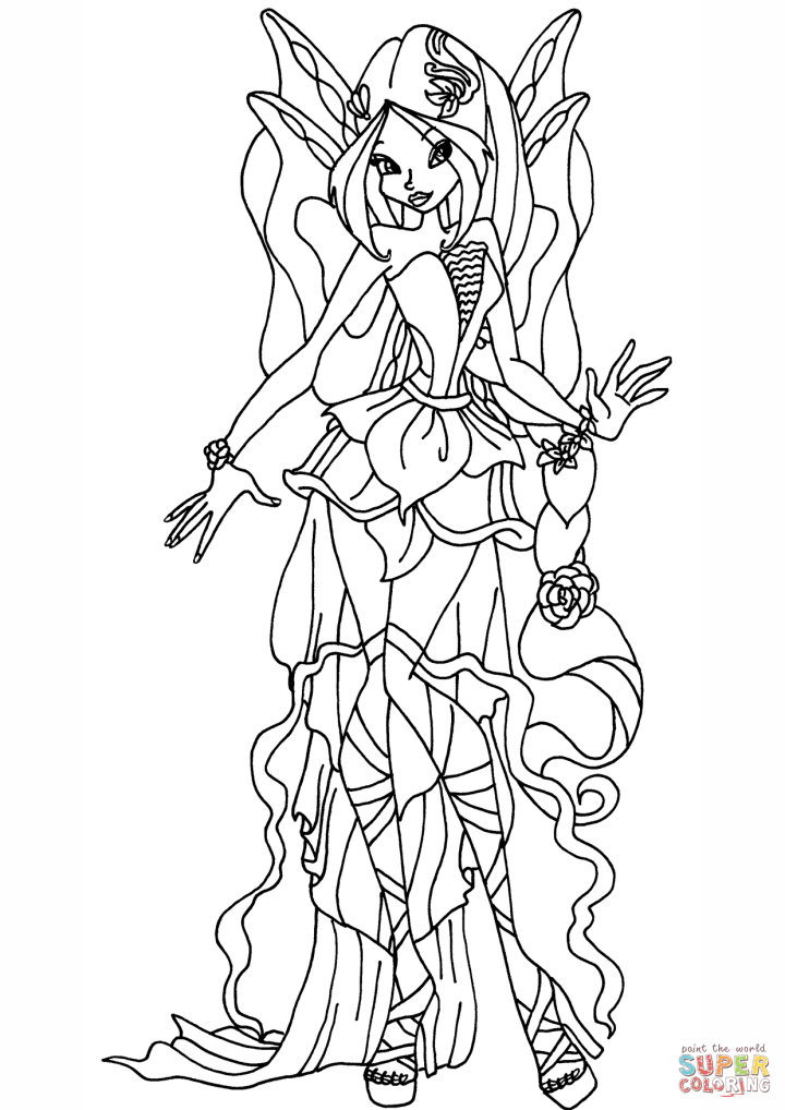Harmonix Flora Coloring Page Free Printable Pages Click The Winx Club