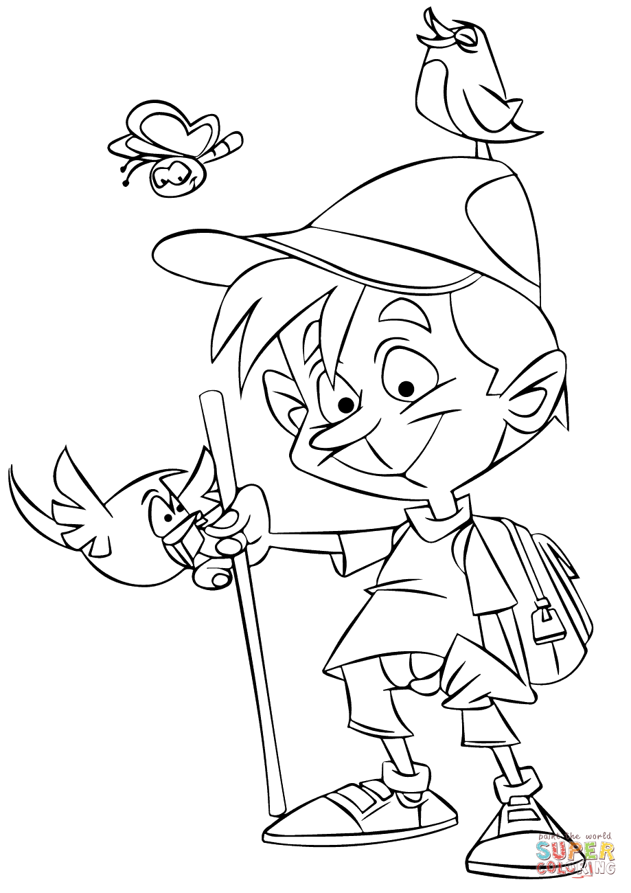 Hiking Boy Coloring Page Free Printable Coloring Pages