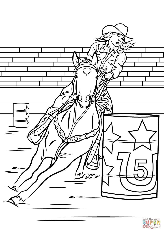 Horse Barrel Racing Coloring Page
