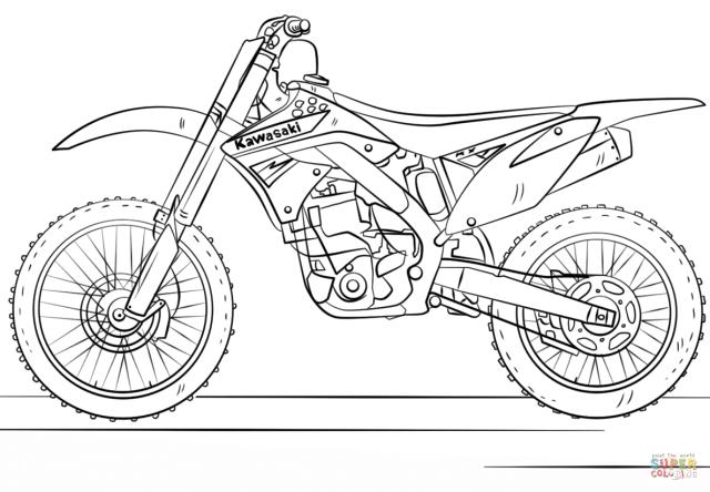 Kawasaki Motocross Bike coloring page  Free Printable Coloring Pages
