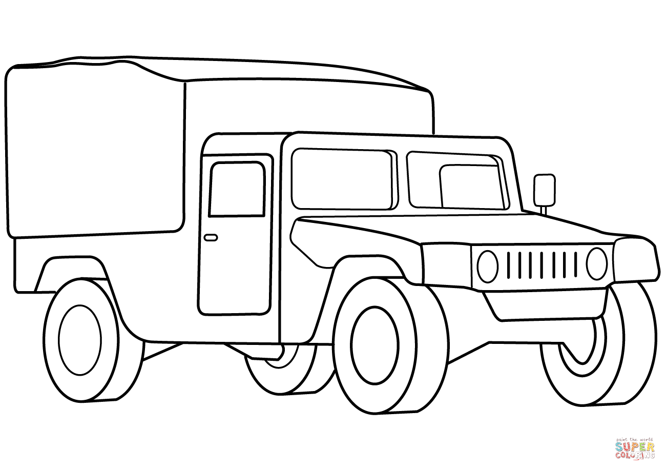 Military Medical Vehicle Coloring Page
