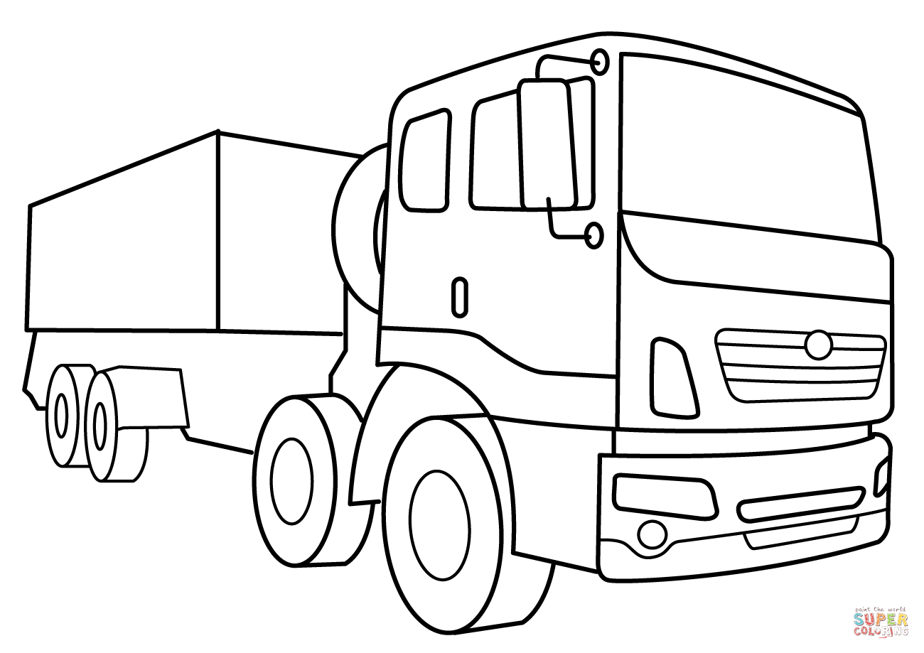 Military Supply Vehicle Coloring Page
