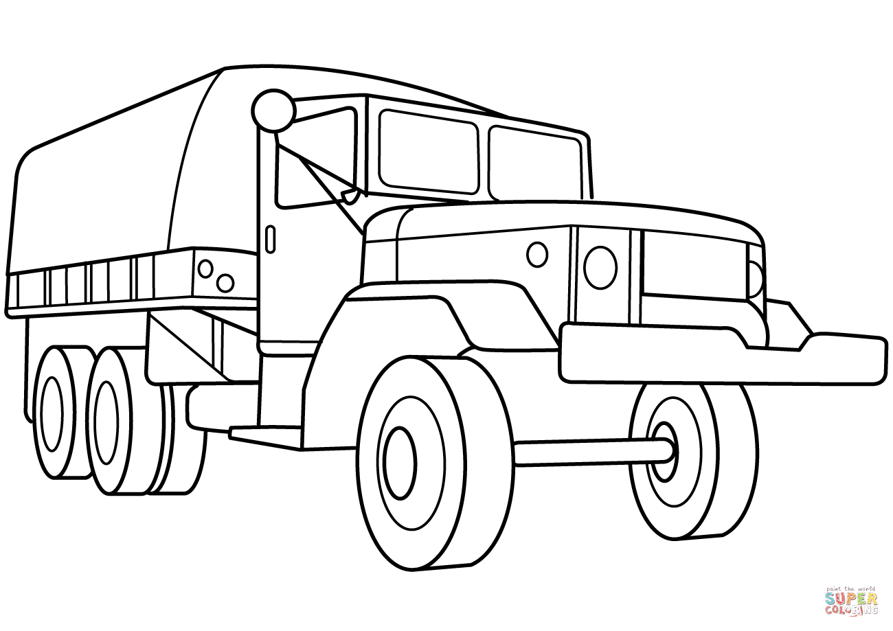 Military Troop Transport Truck Coloring Page
