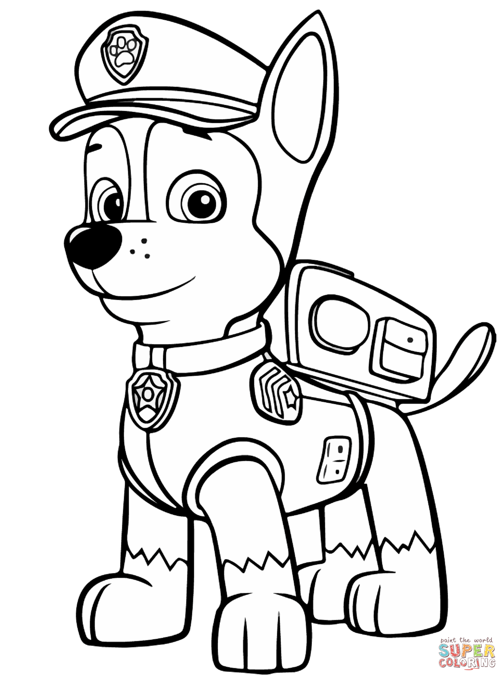 Paw Patrol Chase Coloring Page