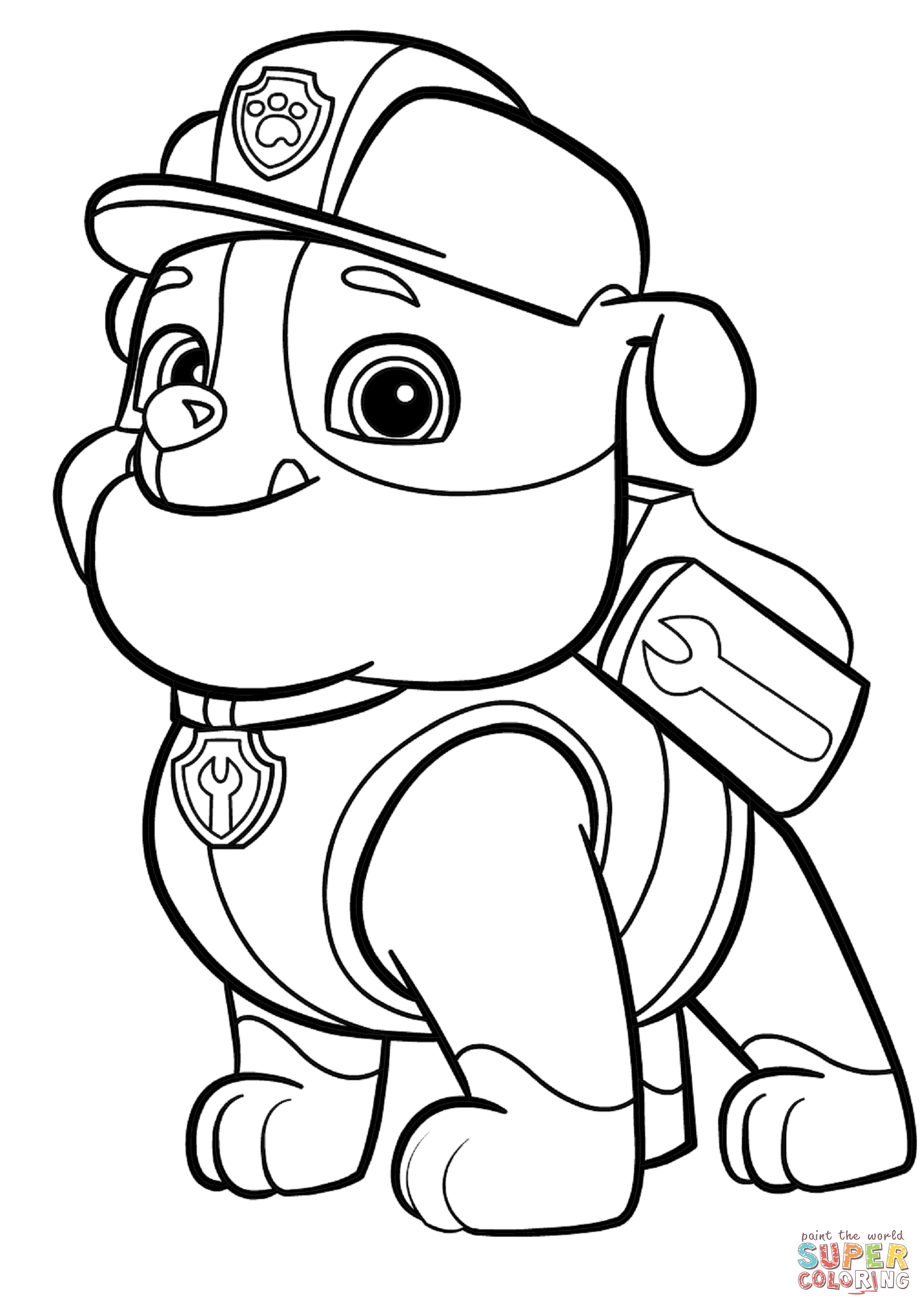 Paw Patrol Rubble Coloring Page