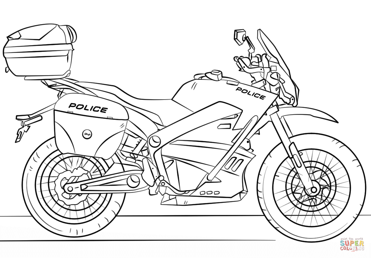 Police Motorcycle Coloring Page