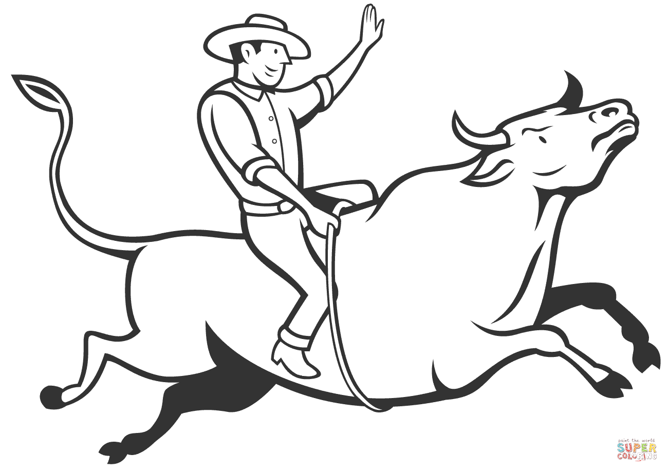 Rodeo Cowboy Bull Riding Coloring Page